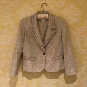 Cream blazer with beige trim